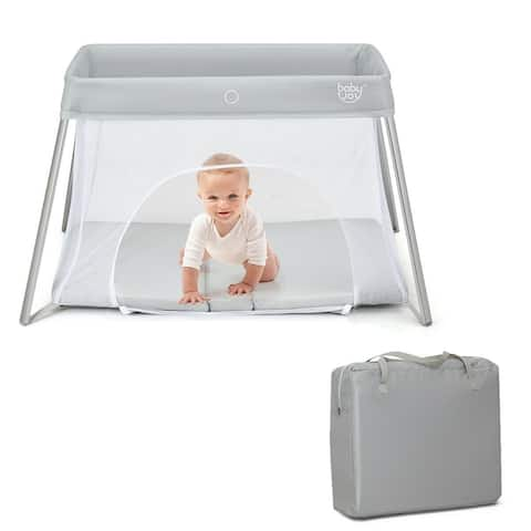 Lightweight Foldable Baby Playpen w/ Carry Bag-Light Gray - Grey
