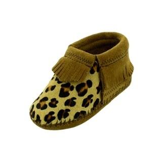 Minnetonka Boots Boys Riley Bootie Suede Leather Fringe Leopard