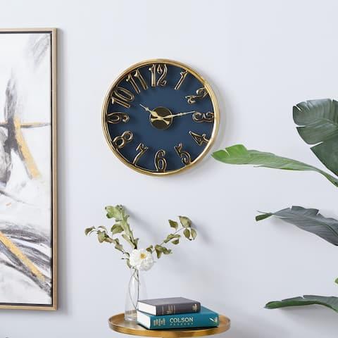 Blue aluminum Coastal Wall Clock