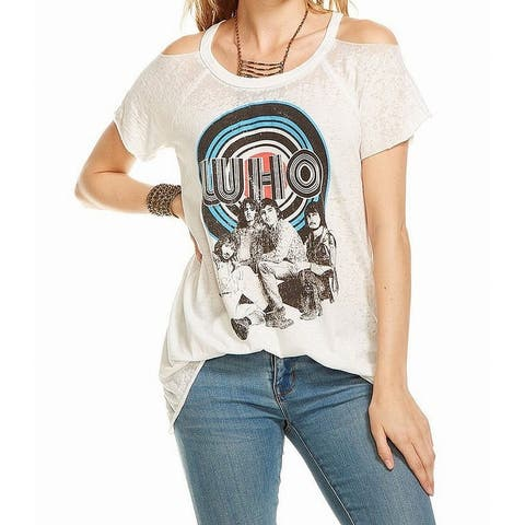 Chaser Womens Top White Size Small S Cold-Shoulder Crewneck Who Band Tee