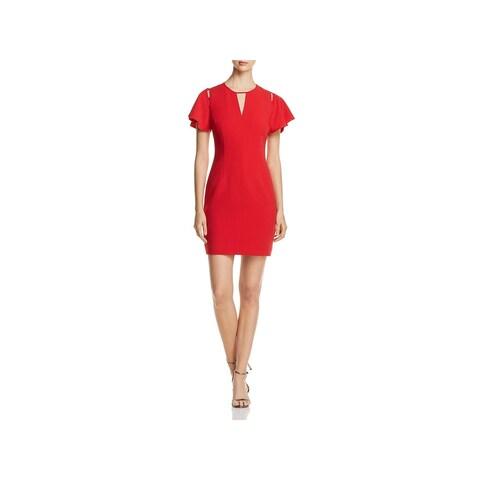 T Tahari Womens Lovie Party Dress Midi Keyhole Neck