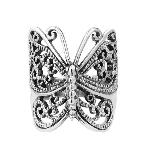 Handmade Wrap Around Butterfly Sterling Silver Ring (Thailand)