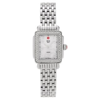 Michele Women's 'Deco Mini' MWW06D000012 Stainless Steel 3/8 CT TDW Diamond Link Watch - Silver