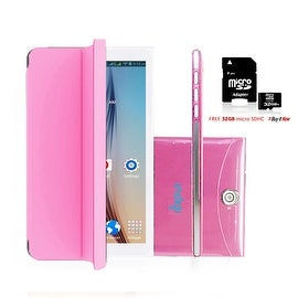 Indigi® 7inch Unlocked 3G Smart Phone 2-in-1 Phablet Android 4.4 Tablet PC w/ Built-in Smart Cover + 32gb microSD (Pink)