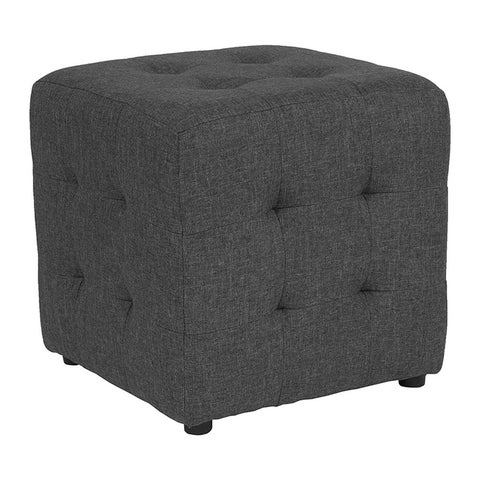 Offex Avendale Tufted Upholstered Ottoman Pouf in Dark Gray Fabric