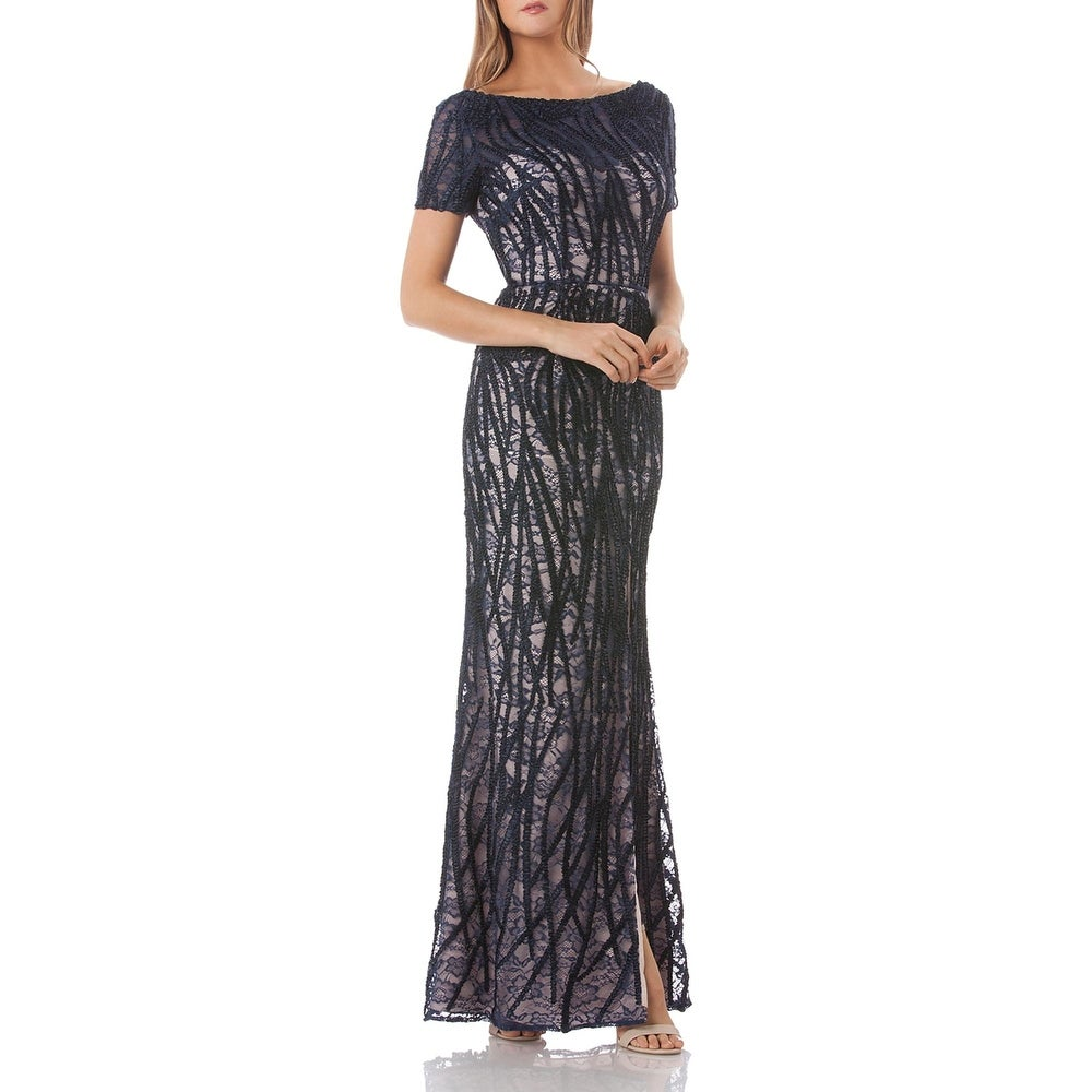 JS Collections Womens Evening Dress Lace Embroidered by  2020 Sale