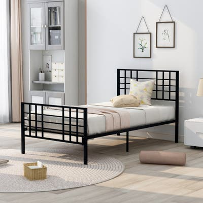 Nestfair Metal Bed Frame Twin Size with Headboard and Footboard