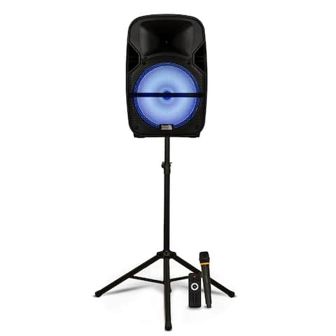 """Acoustic Audio Battery Powered 12"""" Bluetooth Loudspeaker with Lights Mic & Stand"""