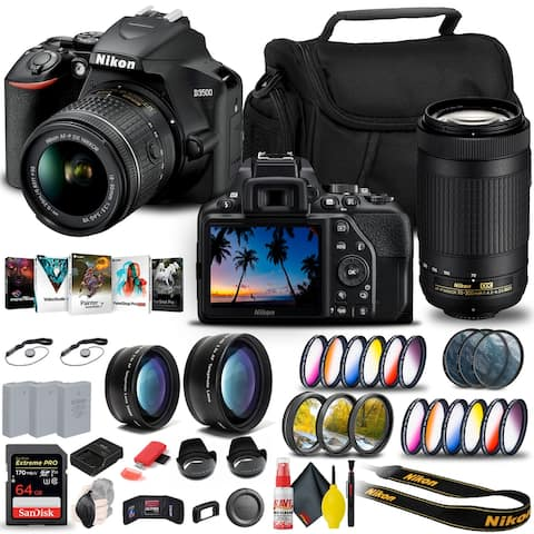 Nikon D3500 DSLR Camera with 18-55mm and 70-300mm Lenses (1588) + 64GB