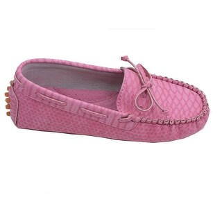 L'Amour Little Big Kids Girls Fuchsia Bow Leather Moccasin 11-4 Kids
