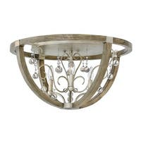 Fredrick Ramond FR37231 3 Light Flush Mount Ceiling Fixture From the Abingdon Collection - silver leaf