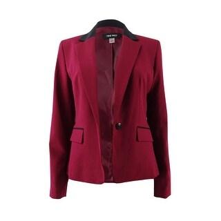 Nine West Women's Plus Size One-Button Two-Tone Blazer (24W, Bordeaux/Black) - bordeaux/black - 24W
