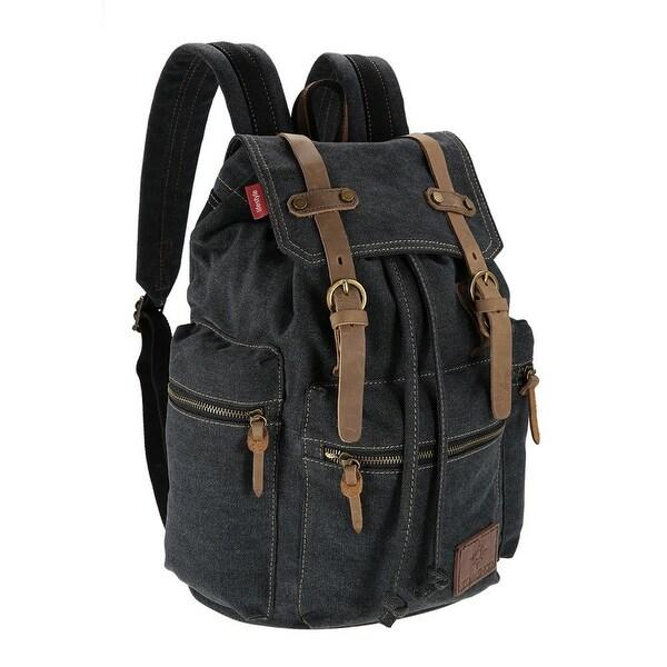 8e90c56a4bc5e Shop Canvas Backpack Vintage Shoulder Bag Travel Bag Outdoor Leisure  Rucksack Men s Laptop Backpack - Black - Free Shipping Today - Overstock -  24330397