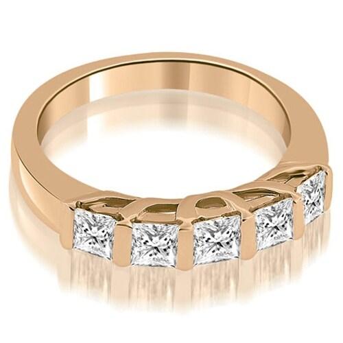 0.70 cttw. 14K Rose Gold Bar Set Princess Cut Diamond Wedding Band