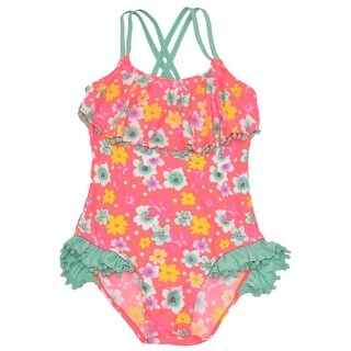 Real Love Girls Coral Floral Print Pom-Pom Trim One Piece Swimsuit