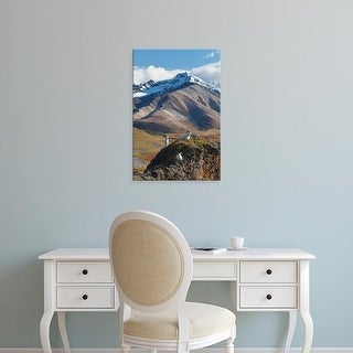 Easy Art Prints Hugh Rose's 'Dall Sheep Rams Perch On A Cliff' Premium Canvas Art