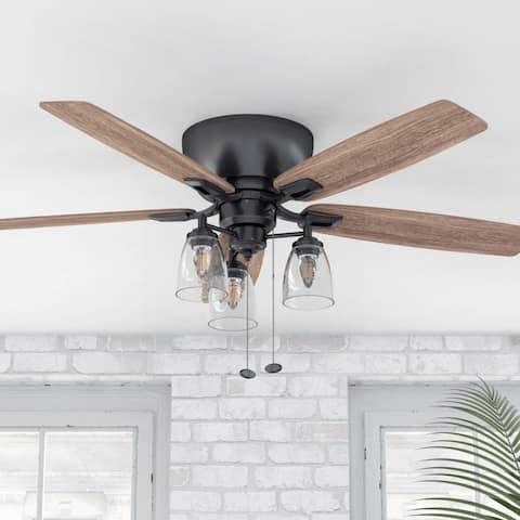 "52"" Prominence Home Arthur Hugger/Low Profile Rustic Farmhouse Ceiling Fan, Espresso - 52"