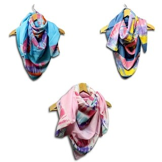 Scarf for Women Cotton Tie Dye 42 x 42 inches Pink Turquoise Blue - Medium