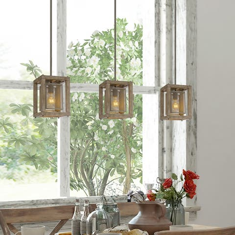 """Farmhouse Rustic Wood Island Pendant Lights for Dining Room - L7.9"""" xW7.9 """"xH10.6"""""""