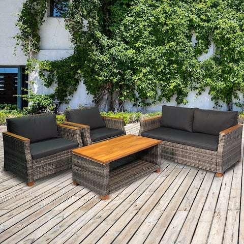 Outsunny 4 Piece Patio PE Rattan Wicker Sofa Set with Acacia Wood Coffee Table, 2 Comfort Single Chairs & 2 Person Couch