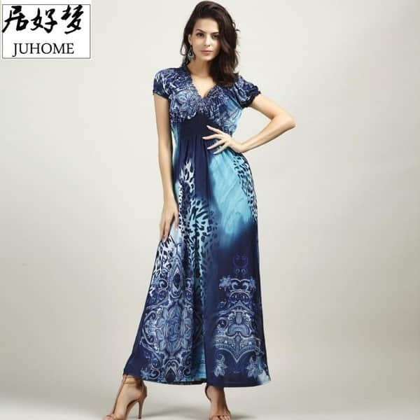 98b12e9948 Shop Plus Size Hot Maxi Long Summer Dress Women Clothing 2017 Blue ...