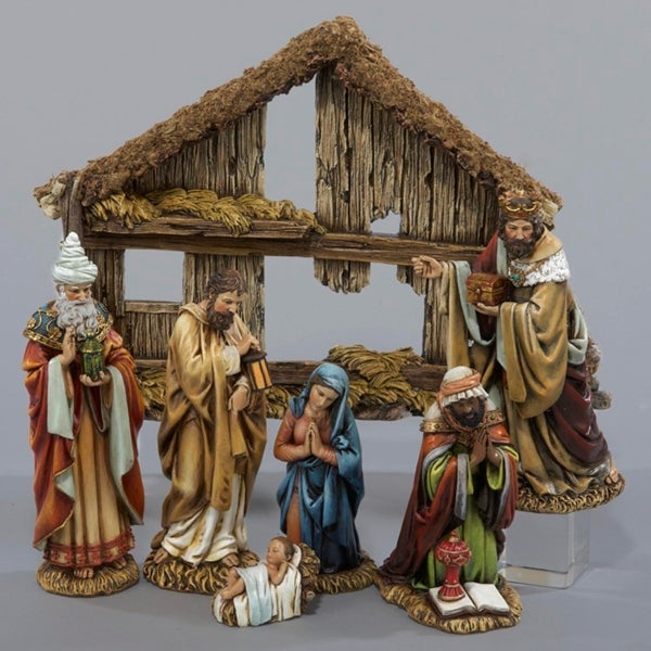 Shop 7-Piece Traditional Holy Family and Three Kings Christmas Nativity Set with Stable - brown - Free Shipping Today - Overstock - 22966067