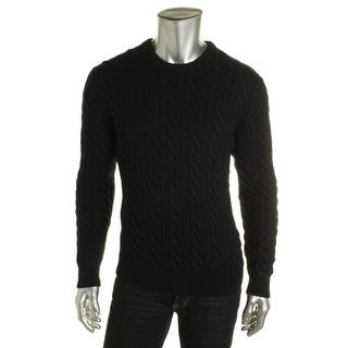 Private Label Mens Wool Cable Knit Pullover Sweater - M