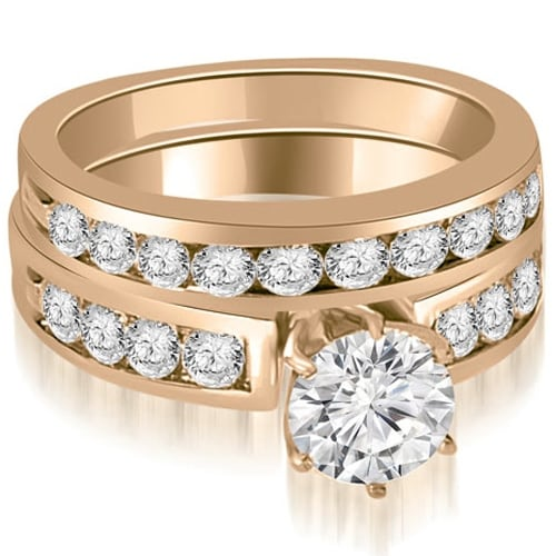 1.95 cttw. 14K Rose Gold Round Cut Diamond Engagement Set