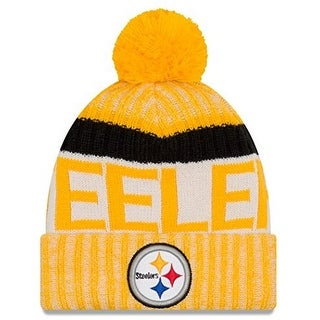 New Era Mens Pittsburgh Steelers Cold Weather Reverse Team Sport Knit Beanie, Yellow/Black, Os - Yellow/Black