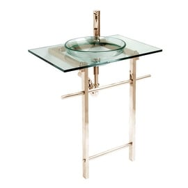 Glass Console Bathroom Vanity Sink Gold Combo Package