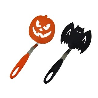 Halloween Black Bat & Orange Pumpkin Spooky Cookie Spatula Set of 2