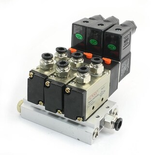 DC12V 3W 2Position 5 Way Triple Solenoid Valve w Base Push In Connector Silencer