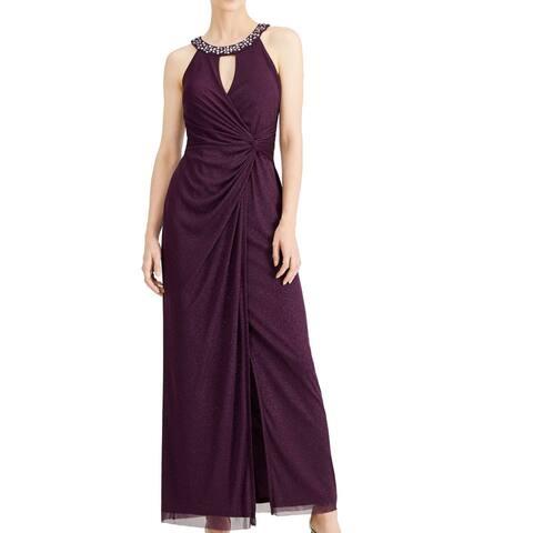 Jessica Howard Women's Dress Purple Size 16 Shimmer Bling Neck Gown