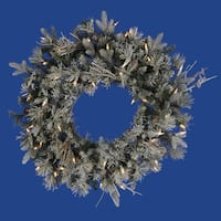 "24"" Pre-Lit Frosted Wistler Fir Artificial Christmas Wreath - Clear Dura Lights - green"