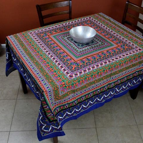 Floral Mandala Cotton Round Tablecloth for Square tables Blue Green Orange Pink Beach Sheet