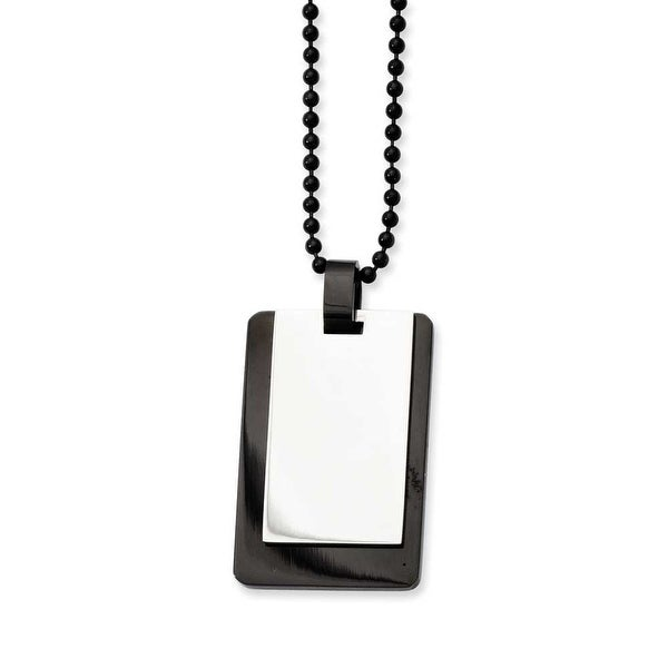 Stainless Steel Polished & IP Black-plated Dogtag Pendant 24in Necklace (2 mm) - 24 in