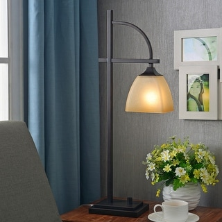 Link to Copper Grove Square Glass Shade Bronze Finish 1-light Table Lamp Similar Items in Desk Lamps