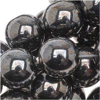 Czech Glass Druk Round Beads 8mm Hematite (25)