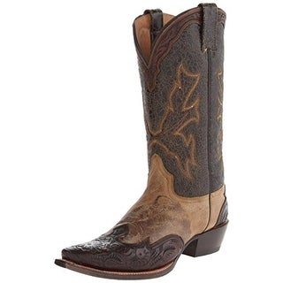 Stetson Mens Oh Tooled Leather Colorblock Cowboy, Western Boots