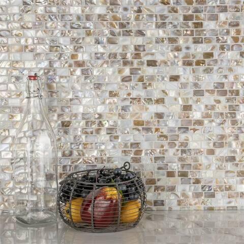 SomerTile 12.25x12.5-inch Seashell Subway Natural Seashell Mosaic Wall Tile