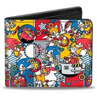 "Sonic Classic Doctor Eggman I ""Heart"" 2 Pollute + Flying Egg Mobile Black Bi-Fold Wallet - One Size Fits most"