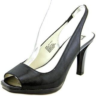 Anne Klein Jarry Round Toe Canvas Slingback Heel