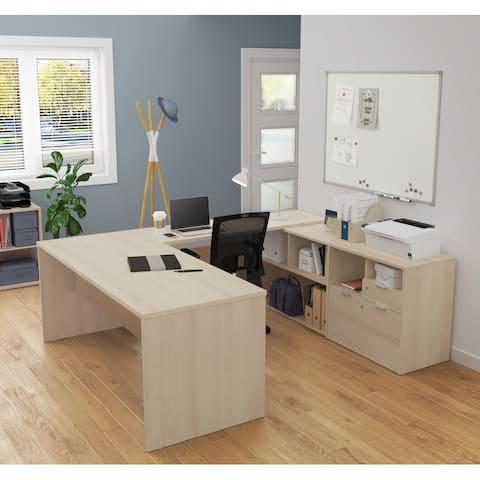 Bestar i3 Plus U-Desk with Two Drawers