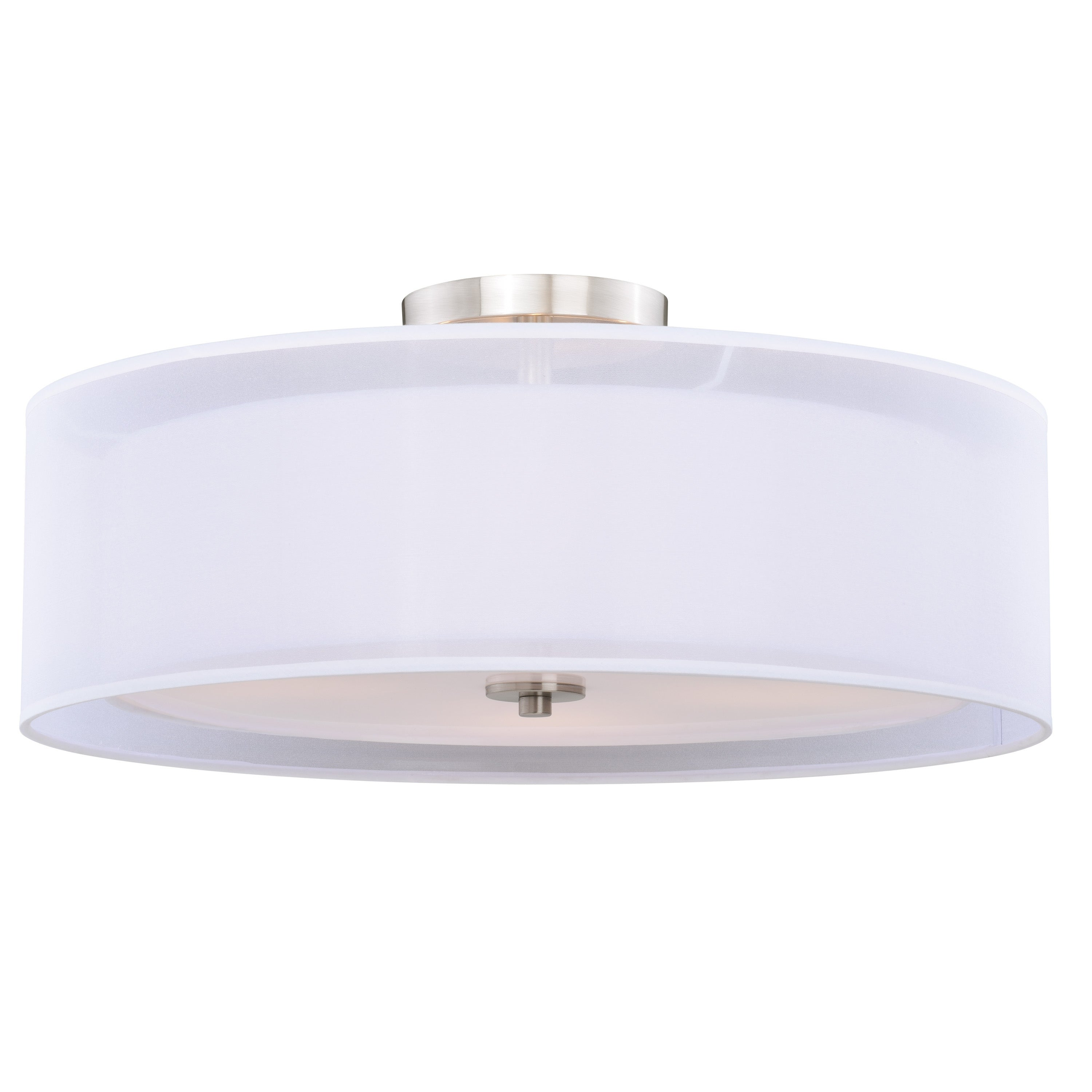 Image of: Shop Black Friday Deals On Nuage 24 In W Satin Nickel Mid Century Modern Drum Semi Flush Mount Ceiling Light White Fabric 24 In W X 10 5 In H X 10 5 In D Overstock 20985859