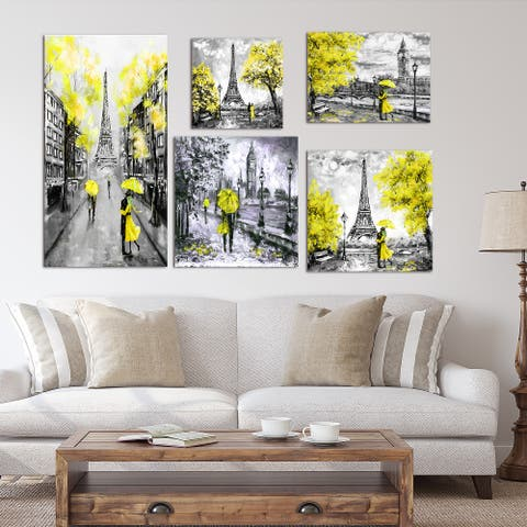 Designart - Paris London Collection (yellow) - Traditional Wall Art set of 5 pieces - Multi-color