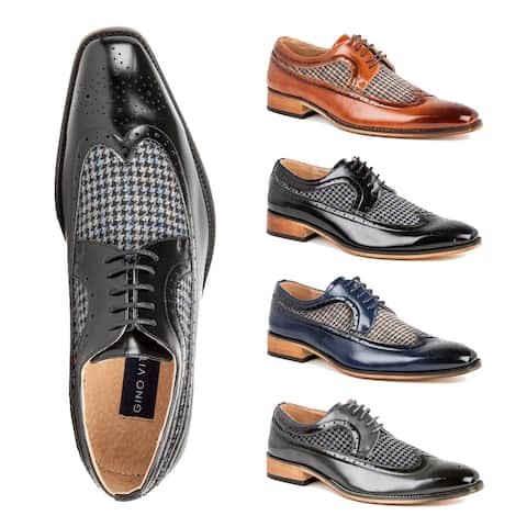 Gino Vitale Men's Wing Tip Brogue Two Tone Shoes