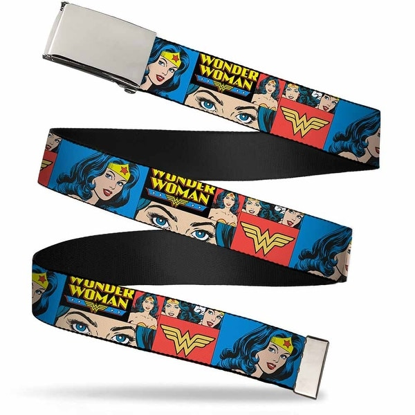 Blank Chrome Buckle Wonder Woman Panels Blue Webbing Web Belt
