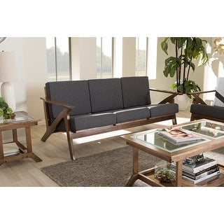 "Baxton Studio Cayla Mid-Century Modern Grey Fabric and ""Walnut"" Brown Wood Living Room 3-seater Sofa - grey/""walnut"" brown"