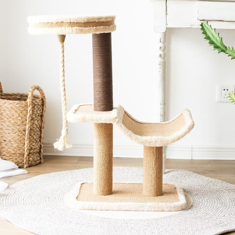 Catry Cat Tree Cradle Bed with Natural Sisal Scratching Posts and Teasing Rope for Kitten - Beige