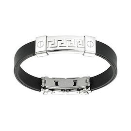 Stainless Steel Tribal Maze ID Plate Rubber Bracelet (10 mm) - 7.25 in